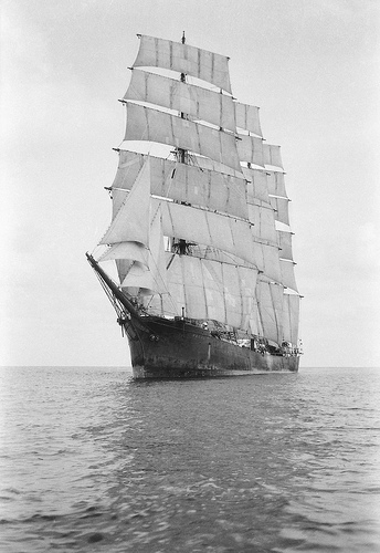 In the lee of the port bow while becalmed, 1932–33