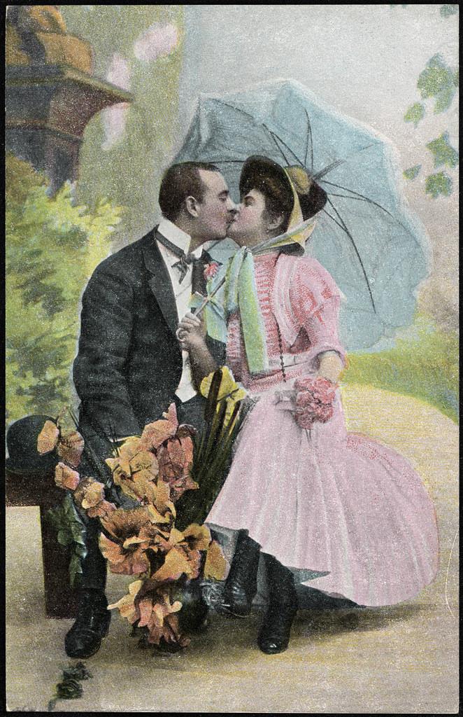 Kyssende par på benk_12341651473_l