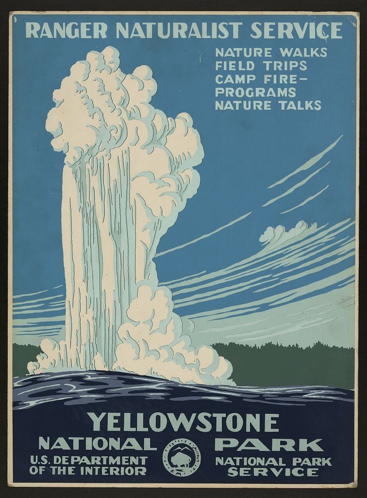 13399v -wpa poster- old faithful geyser-yellowstone national park