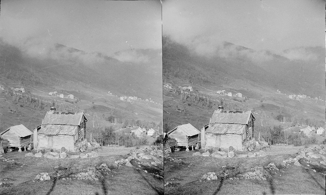 Fylkesarkivet i Sogn og Fjordane-stereo view-Farmstead, ca. 1898-1910. 12608909945