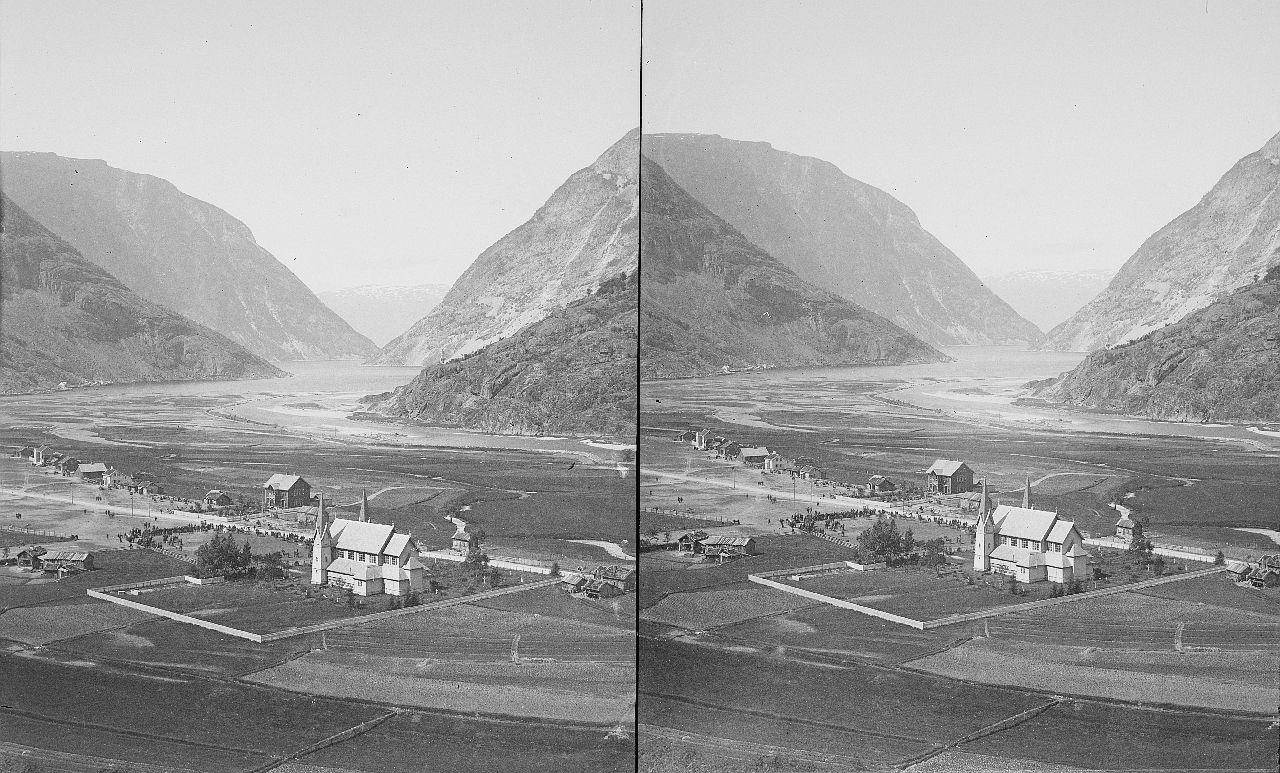 Fylkesarkivet i Sogn og Fjordane-stereo view-Hauge church, Lærdal, ca. 1897-1907. 12609328764
